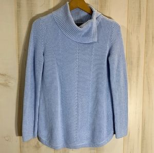 Talbots Light Blue Sweater Cotton Cowl Neck XS
